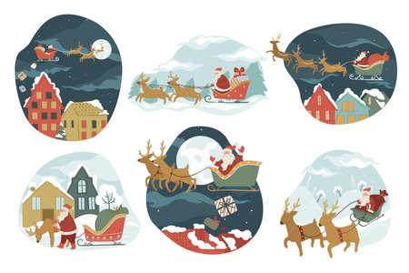 Santa Claus riding on sledges giving presents for xmas 矢量图像