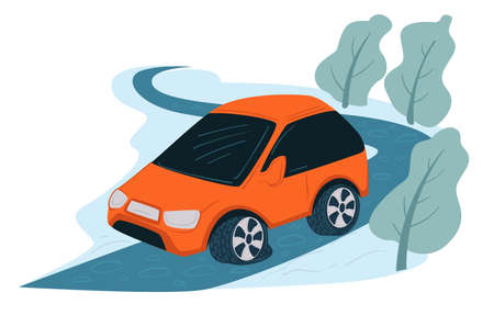 Car on icy road, driving automobile in winter
