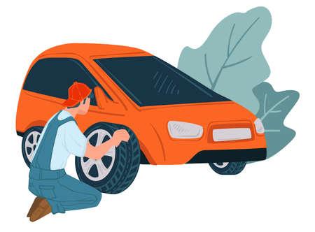 Mechanics changing old car tyre, shop or service Illusztráció