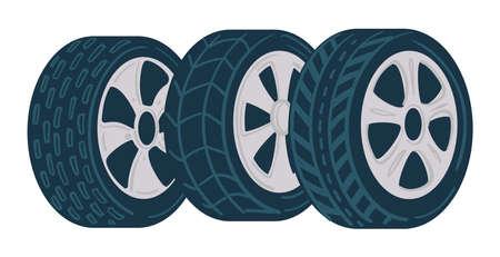 Car tyre, shop or mechanics center, fixing service Vettoriali