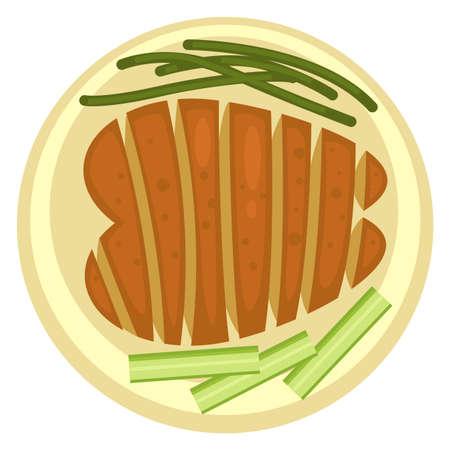 Grilled meat steak served with celery veggie stick Ilustração