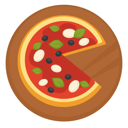 Italian cuisine pizza with tomato sauce and olives