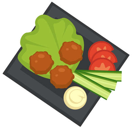 Meatballs and vegetables, sauce with meat food Vecteurs