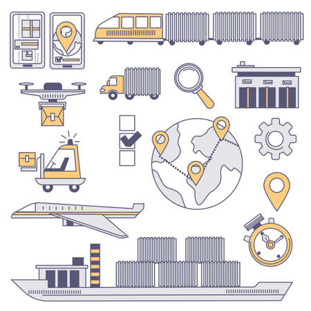 Worldwide logistics and transportation of goods  イラスト・ベクター素材