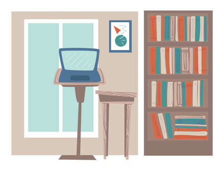 Office or home workplace with laptop and books