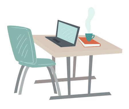 Simple office interior, table and laptop vector