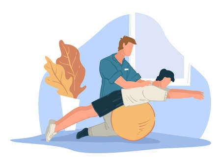Coach helping character to stretch back, sports Vecteurs