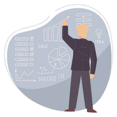 Teacher or business coach showing stats analysis