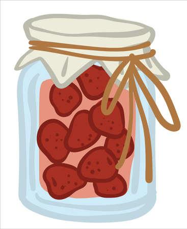 Preserved strawberries in jar, sweet jam vector Çizim