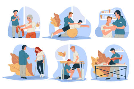 Treatment massage for people with injuries vector