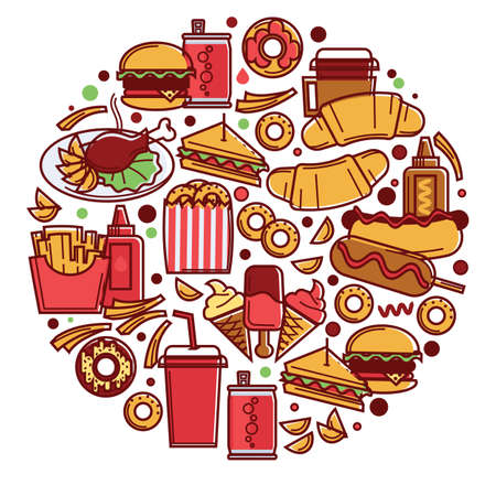Fast food in circle, snacks and drinks dinner