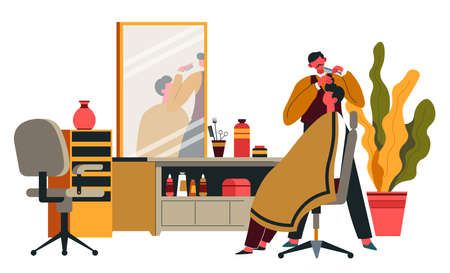 Barber shop, professional care for hairstyle vector