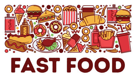Fast food dishes and drinks, snacks and beverages Ilustração
