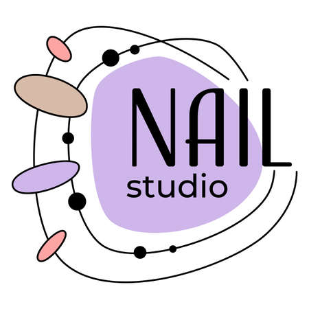 Nail studio emblem with color designs samples