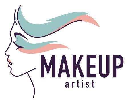 Makeup artist, emblem logo of studio or workshop
