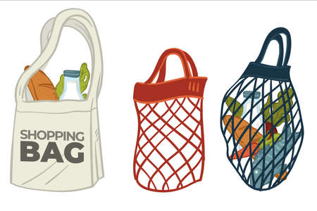 Ecologically friendly canvas and mesh bags vector