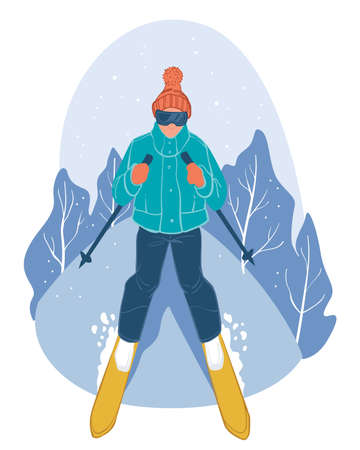 Skier going down slope, winter sports activities Illustration