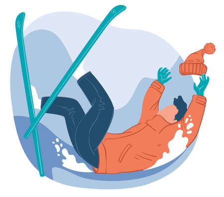 Skier falling down, practicing in skiing sports Illustration