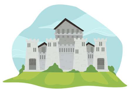 Medieval fortress, fairy tale architecture kingdom Illusztráció