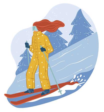 Skiing in winter resort, wintertime hobbies vector