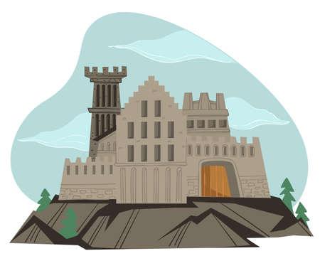 Fortification or medieval castle of stone vector Illusztráció