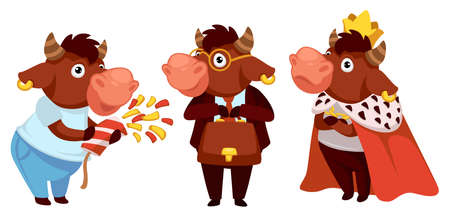 Bull celebrating holiday, wearing king costume