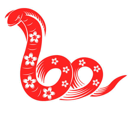 Chinese horoscope sign, snake with flowers vector 向量圖像