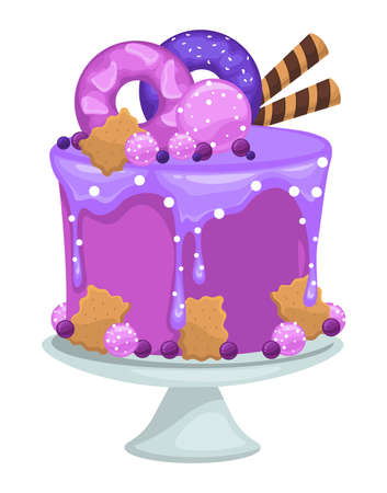 Cake with donut cookies with glittering topping