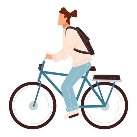 Male character riding bicycle, cyclist with bag Ilustrace