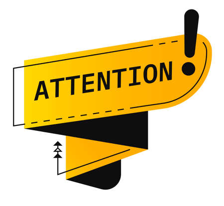 Attention sign with exclamation mark ribbon banner