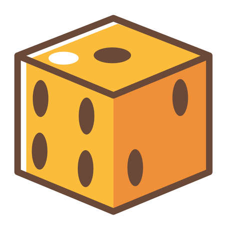 Throwing dice for luck, square cube with holes denoting numbers. Gaming and gambling. Victory and entertainment in role play game or boardgame. Relax and leisure. Isolated icon, vector in flat style