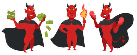 Devil with money, fire and broken heart character