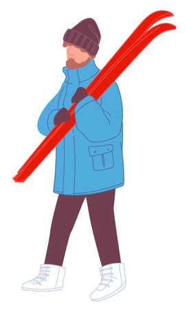 Male character with skiing equipment for sports