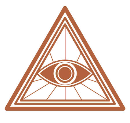 Masonic seeing eye in triangle sign, magic symbol
