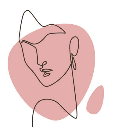 Minimalist woman portrait continuous line picture Vettoriali