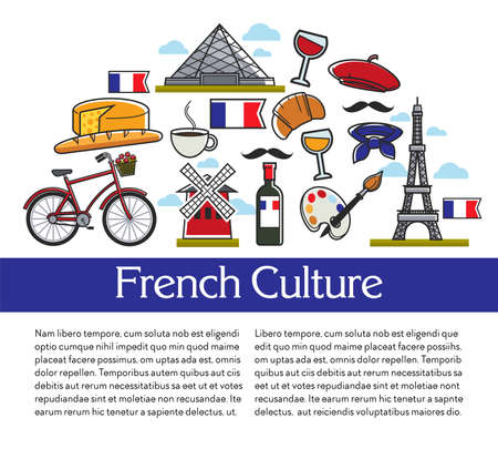 Travel agency brochures French culture and symbols architecture and cuisine vector