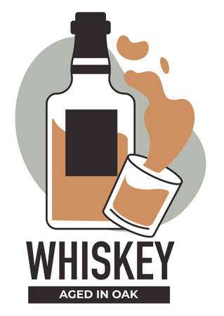 Production of whiskey, extra special components and technology of making. Vector in flat style 일러스트