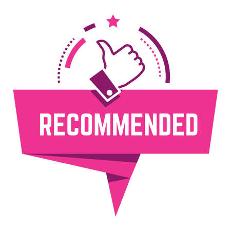 Recommended sign with thumb up, approval banner