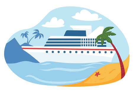 Cruise liner by seaside with palms and sandy beach