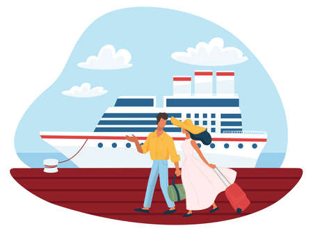 Man and woman getting ready for cruise boarding