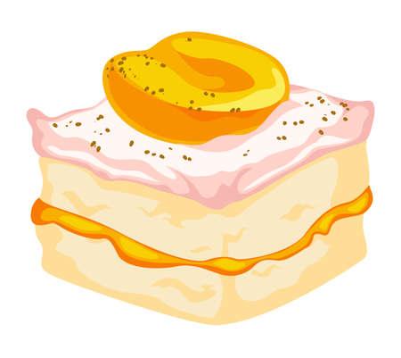 Cake with cream, peach jam and fruit slice vector