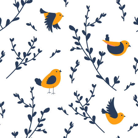 Spring birds sitting on branches chirping vector