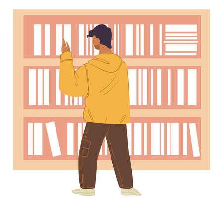 Student looking for book in bookstore or library 向量圖像