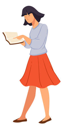 Female student walking and reading book vector