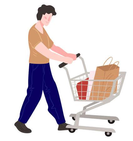 Character shopping buying products pushing cart