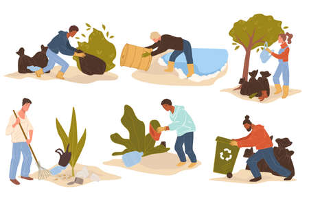 Volunteers cleaning spots and caring for nature Ilustração