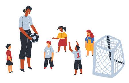 School or kindergarten teacher playing football