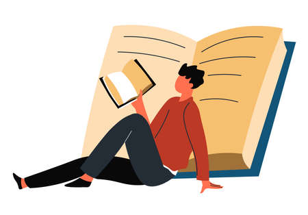 Male character adult or student reading books