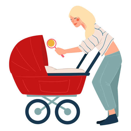 Mother playing with newborn child in buggy vector