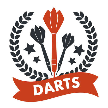 Darts game, banner with stars and ribbon text